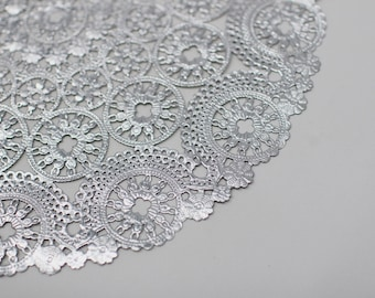 """50 Metallic Silver 12"""" Round Medallion Doilies. Foil Lace Paper. Use for Placemats, Invitations, Bombonieres, Favors"""