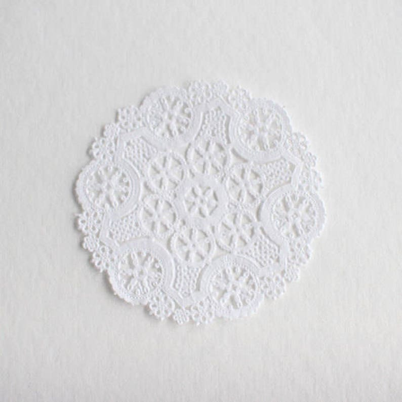 100 White 6 Round Medallion Doilies. French Lace Paper. image 0