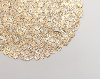 """100 Metallic Gold 12"""" Round Medallion Doilies. Foil Lace Paper Doily. Use for Placemats, Chargers, Invitations, Bombonieres, Favors"""
