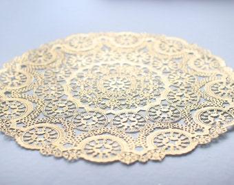 "10 Metallic Gold 12"" Round Medallion Doilies. Foil Lace Paper. Use for Placemats, Invitations, Bombonieres, Favors"