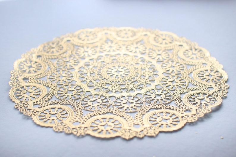 50 Metallic Gold 12 Round Medallion Doilies. Foil Lace image 0