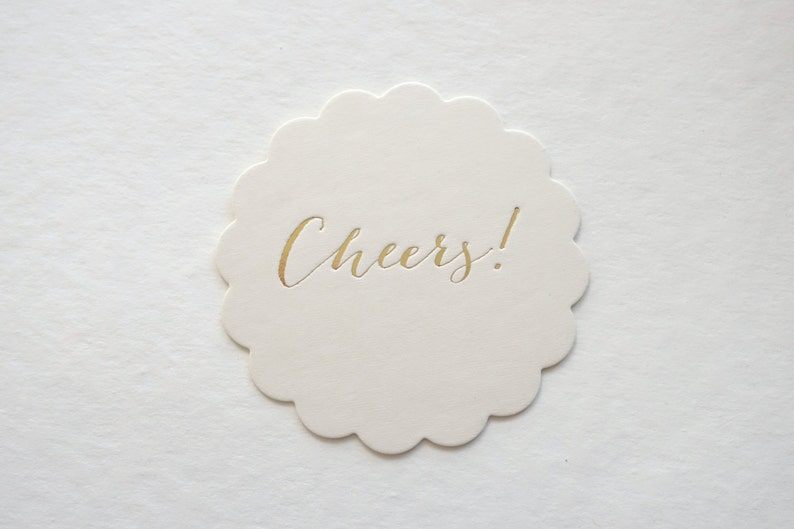 Gold Foil Cheers Scallop Coasters  Set of 10 // Perfect for image 0