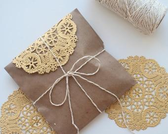 "10 Metallic Gold 4"" Round Medallion Doilies. Foil Lace Paper. Use for Placemats, Invitations, Bombonieres, Favors"