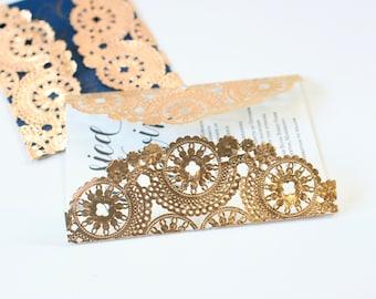 "10 Metallic Gold 10"" Round Medallion Doilies. Foil Lace Paper. Use for Placemats, Invitations, Bombonieres, Favors"