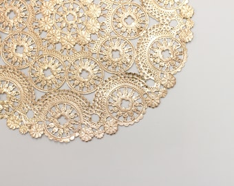 "100 Metallic Gold 10"" Round Medallion Doilies. Foil Lace Paper. Use for Placemats, Invitations, Bombonieres, Favors"