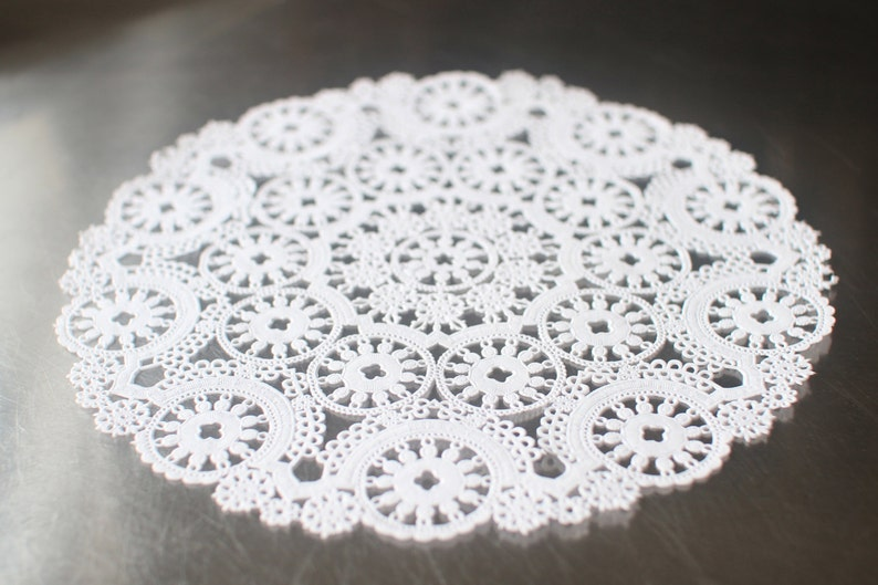 10 White 10 Round Medallion Doilies. French Lace Paper. image 0