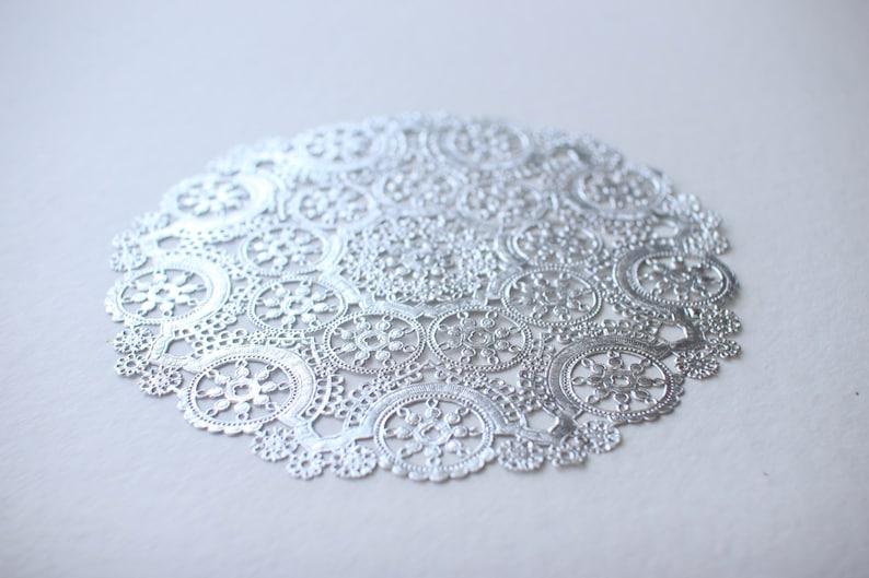 10 Metallic Silver 10 Round Medallion Doilies. Foil Lace image 0