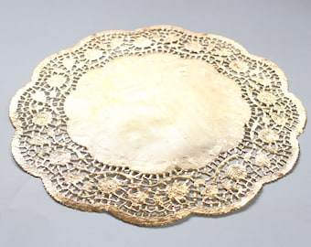 """10 Metallic Gold 10"""" Round Rose Floral Detail Doilies. Foil Lace Paper. Use for Placemats, Chargers, Invitations, Bombonieres, Favors"""