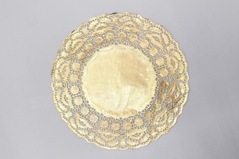 10 Metallic Gold 11.5 Round Doilies. Foil Lace Paper. image 0