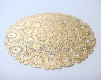 """Metallic Gold Doilies - Sample Pack. Includes 12"""", 10"""", 8"""", 6"""", 4"""". Foil Lace Paper. Use for Placemats, Invitations, Bombonieres, Favors"""