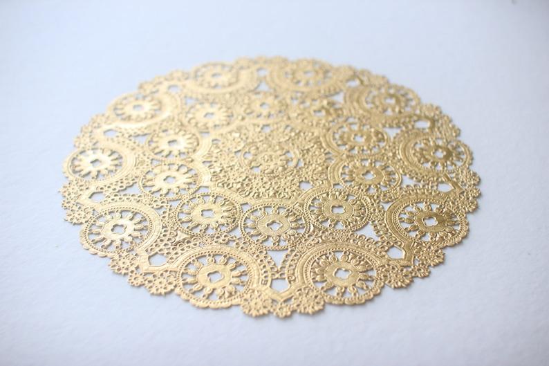 10 Metallic Gold 10 Round Medallion Doilies. Foil Lace image 0