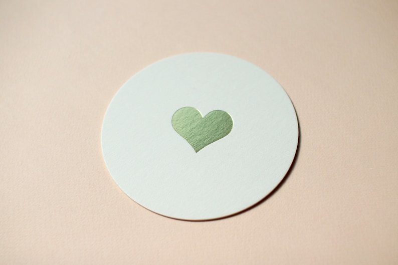 Gold Foil Heart Round Coasters  Set of 10 // Perfect for your image 0