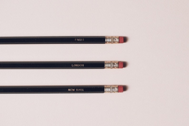 3 City Series Pencils in Black  New York London Paris in image 0