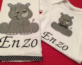 Personalized Baby Onesie and Burp Cloth Sets