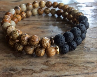 Bracelets for Women, Earth Tones Beaded Mala Bracelet, Essential Oil Bracelet, Stacking Stretch Elastic Bracelets, Unisex Yoga Jewellery