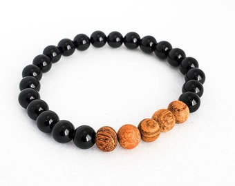 Gifts for Men in Canada, Groomsmen Gifts, Beaded Mala Bracelet, Gifts for Him, Black Onyx and Wood Bead Bracelet, Birthday Gift for Brother