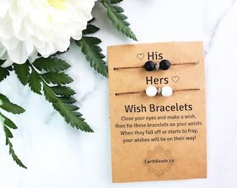 His and Hers Friendship Bracelets, Bride and Groom Jewellery, Boyfriend Girlfriend Wish Bracelet, Couples Black and White Beaded Bracelets