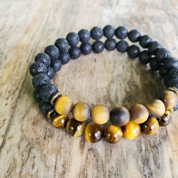 Mens Bracelet Tigers Eye Fathers Day Gift From Wife Gifts For Dad