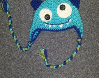 Crochet Monster Hat with Earflaps