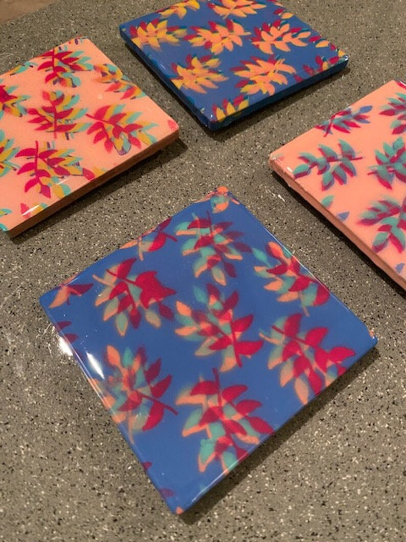 set of 4 Abstract Flower Abstract Art Handmade Tile Coasters