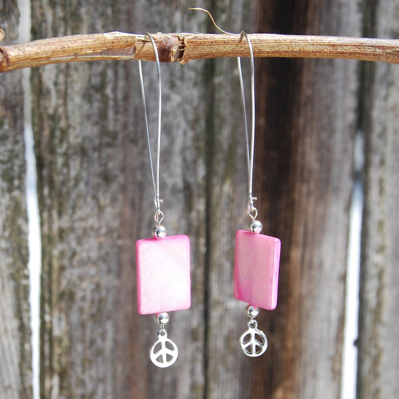 a12f887d15204 Handmade Pink Mother of Pearl Earrings Sterling Silver Peace Sign Charms.  Silver peace sign earrings. Hot pink earrings. Pink shell earrings