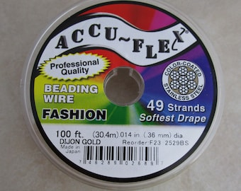 """WR122 AccuFlex Beading Wire Clear over Stainless 21 Strand 100 ft. 0.024/"""""""