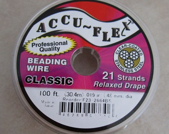 """0.019/"""" AccuFlex Beading Wire Clear over Stainless 21 Strand WR119 30 ft."""