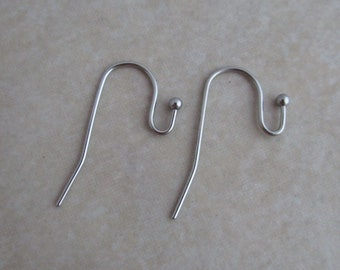 20 pair Bright Silver plated Ear Wires ball end french hook 40