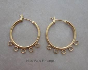 20 gold plated ear hoops with beading loops