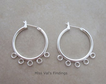 20 silver plated ear hoops with beading loops