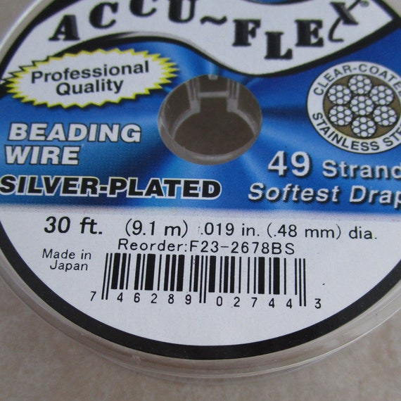 Accu-Flex Beading Wire Silver Plated 49 Strand .014 30ft 0.014 inches