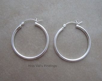 sterling silver earring hoops 1 pair 28mm