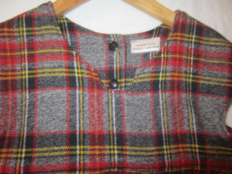 PLAID FLANNEL WINTER Dress Size 5 Handmade Ruffled Ready To Ship Free