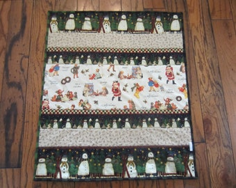 CHRISTMAS TODDLER BABY Quilt,Cotton Flannel H,oliday Crib Quilt, Snowman Quilt