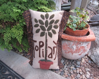 WOOL APPLIQUE TOPIARY Pillow Handmade Fall Decor For Your Country Farmhouse Home
