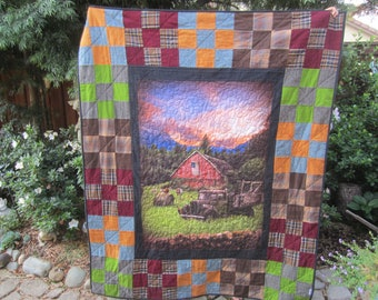 LARGE QUILT AMERICAN Flag, Truck With Vintage Barn, Farmhouse, Patriotic Americana