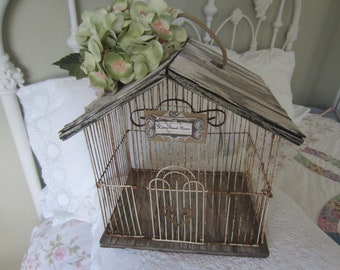 SHABBY CHIC WEDDING Decor, French Bird Cage, Farmhouse Decor, Cottage Decor, Shabby Chic Decor
