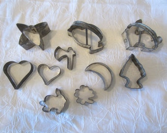 VINTAGE COOKIE CUTTERS 1920's Ten Holiday Cookie Cutters