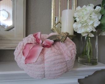 SHABBY CHIC PUMPKIN Pink Vintage Chenille Farmhouse Cottage Decor For Your Shabby Chic Home