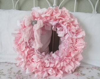 SHABBY CHIC WREATH Pink White Rag Wreath Cottage Farmhouse Decor 16 Inch Beauty