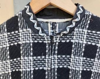 Tweed black white check mod mini dress 60s 70s twiggy