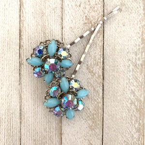 silver tone redesigned vintagefrivolity aqua Repurposed vintage jewelry bobby pins blue glass set of two hair bridal OOAK upcycled