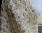 Champagne lace fabric, romantic wedding bridal fabric, chiffon sequins lace fabric half yard