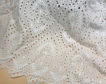 12x7.5 and 16x6  white cotton Vintage Embroidered Eyelet Fabric Scraps 4 Pieces  2 each