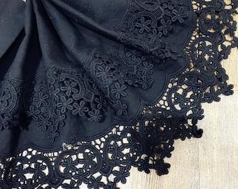 "8.66"" Wide Black Lace Trim, Crochet Floral Embroidery Cotton Lace Trim, Hollowed Edging Trim for Costume Supplies, Dress Hem, Cuffs"