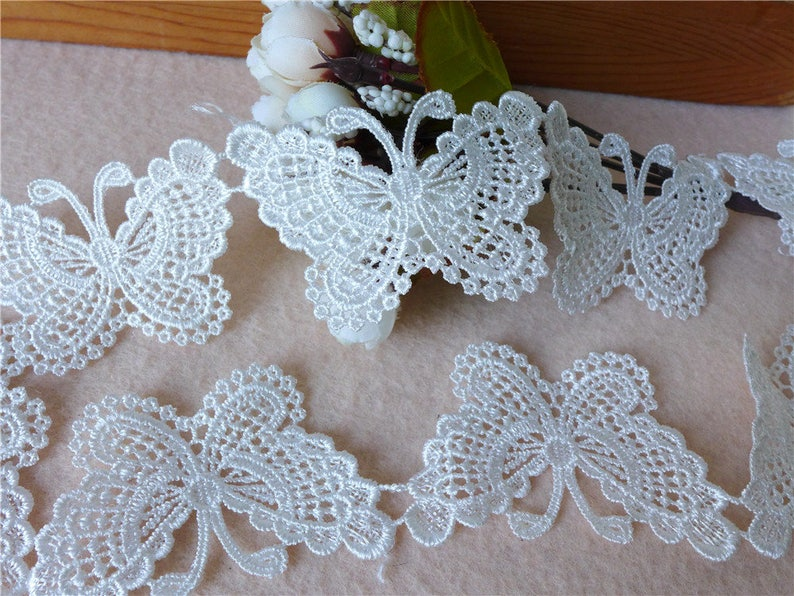 Exquisite butterfly lace applique trim in white for diy home etsy