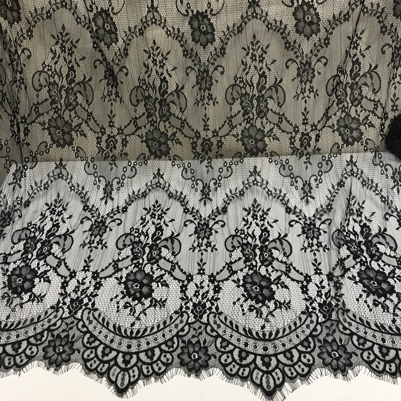 SALE Black Lace fabric French Chantilly Lace Bridal lace Wedding Lace Evening dress lace Scalloped Floral lace Lingerie Lace yard L11219