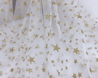Gold Star Mesh Tulle Fabric, Off white Tulle Fabric, Stunning Star Gauze Fabric for Wedding Dress, Tutu Dress, Prom Gown, Veils