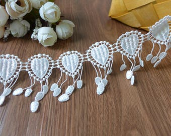Lovely Lace Trim In White, Teardrop Lace Fabric Trim, Antique Lace With 3D Heart, Sewing Lace Trim, Home Decor