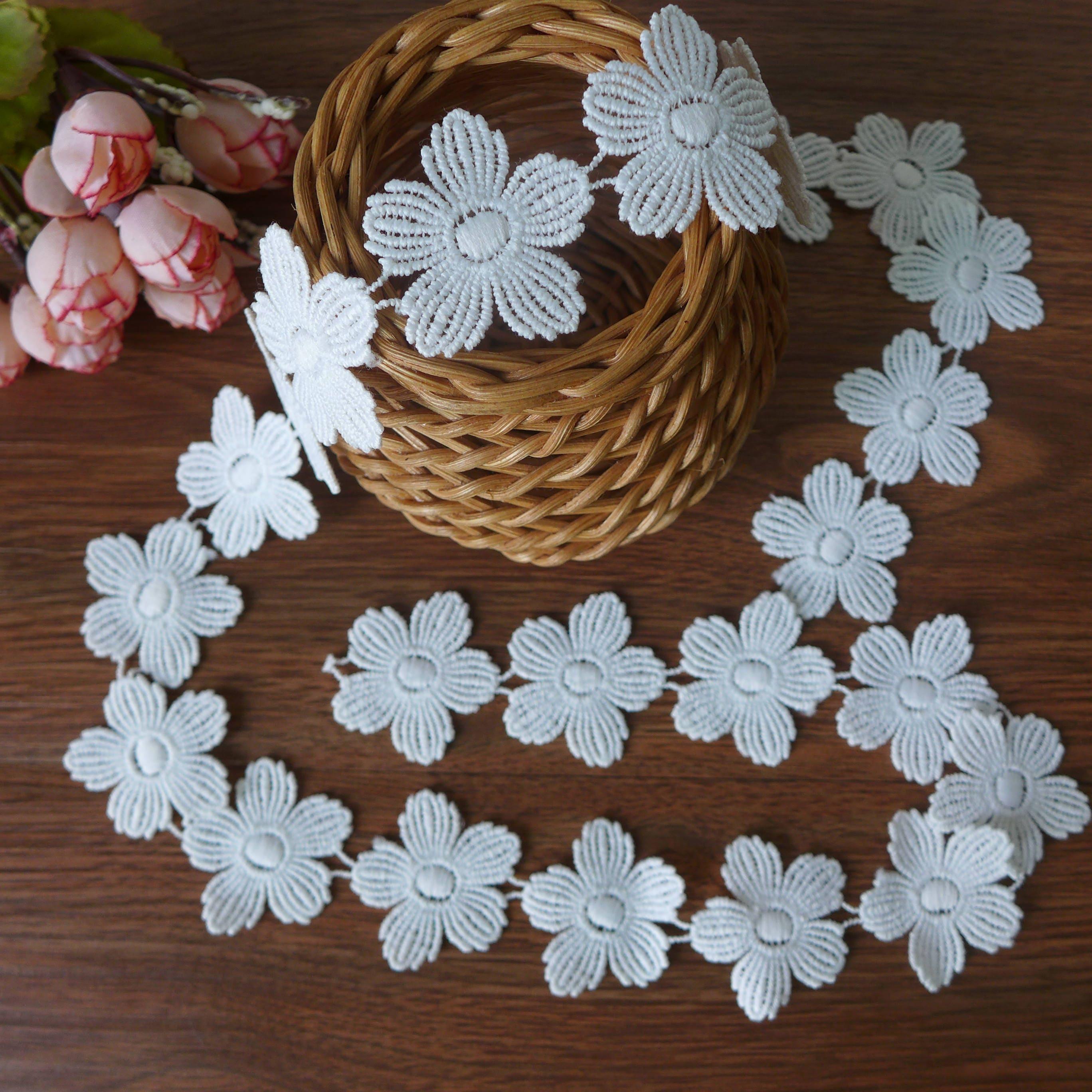 Fabric Flower Trim: 3D Petal Flower Lace Trim White Lace Fabric Trim Bridal